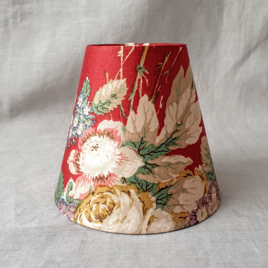 Candle Shade In Sanderson Deep Red Floral Delicate Sateen