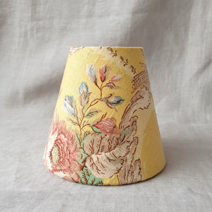 Candle Shade In Vintage Sanderson Yellow Scrolls And Bluebirds Design