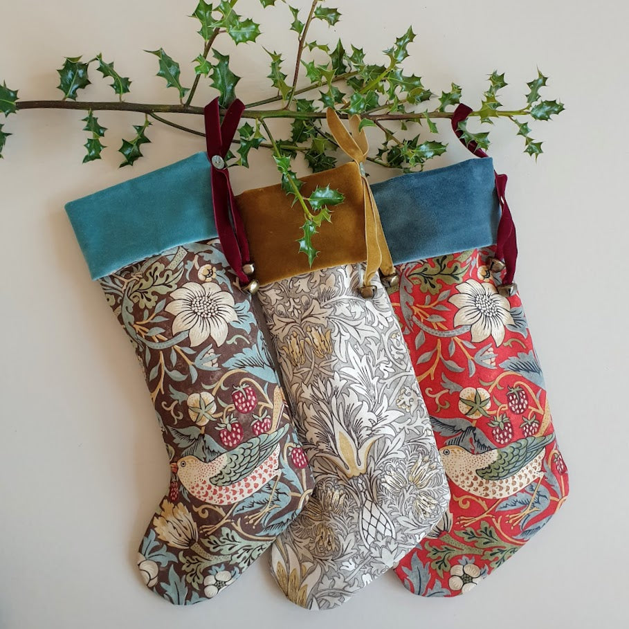 Morris & Co Christmas Stocking - Strawberry Thief Crimson