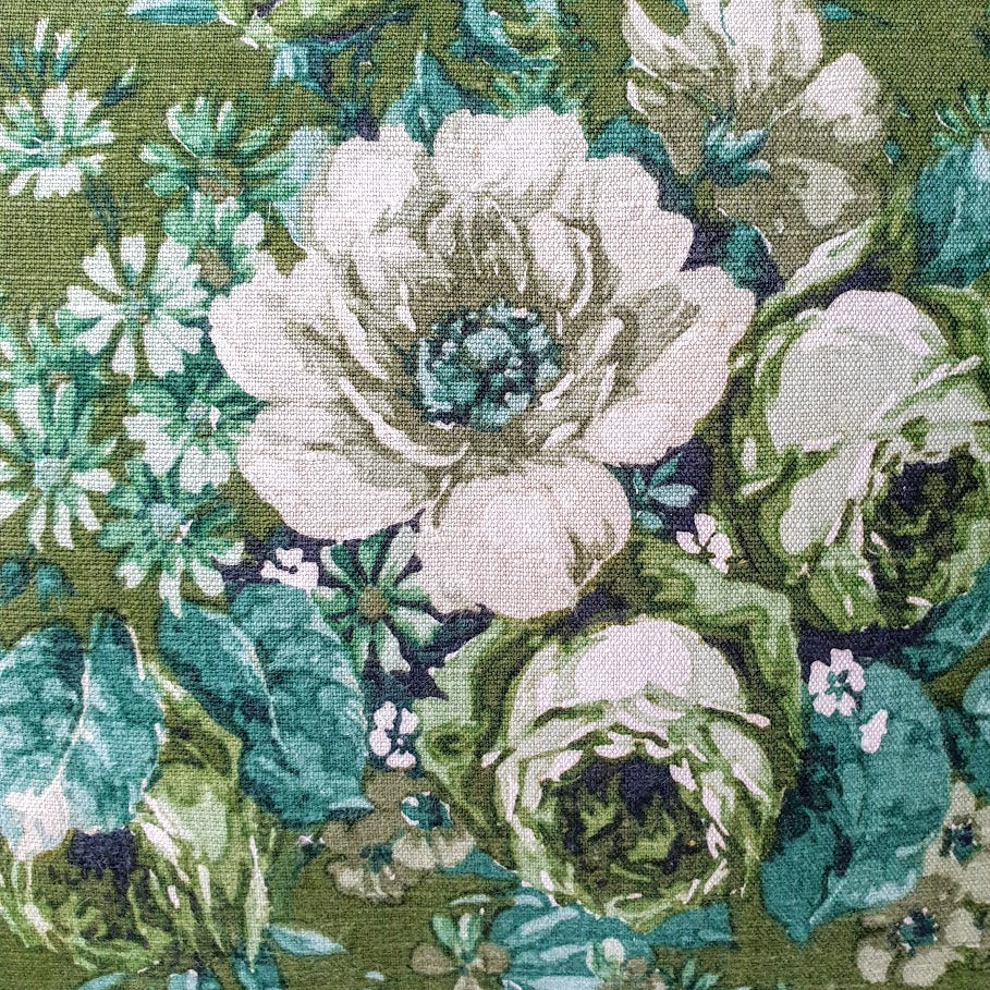 Vintage Floral Cushion In Deep Green Sanderson Florals