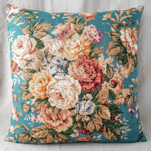 Teal Floral Cushion / Vintage Floral Cushion In Teal And Rust Florals