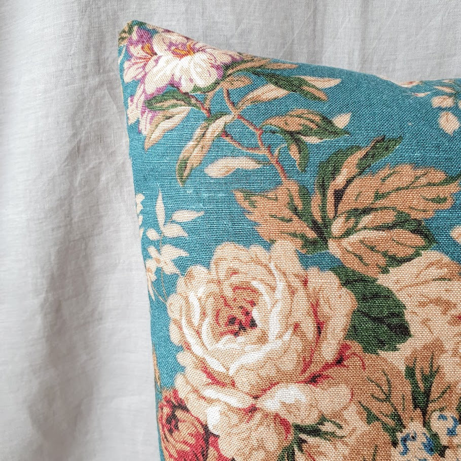Copy of Vintage Floral Cushion In Teal And Rust Florals