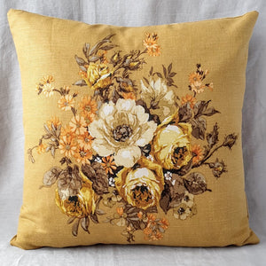 1960s Floral Cushion / Vintage Floral Cushion In Mustard Sanderson Florals