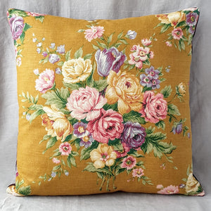Vintage Floral Cushion In Mustard Floral Bouquet