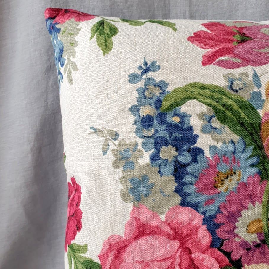 Vintage Floral Cushion In Pink And blue Sanderson Florals