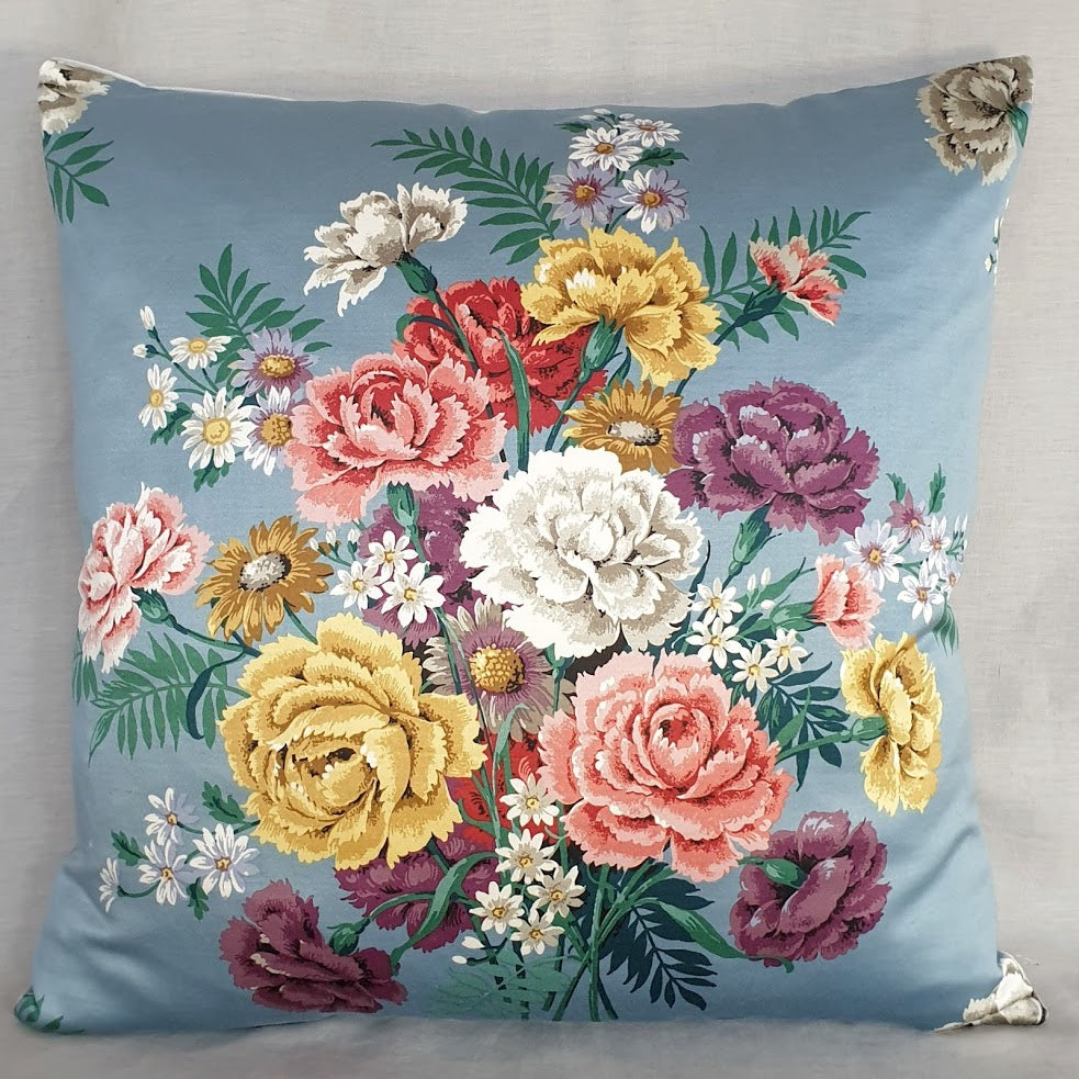 Vintage Floral Fabric Cushion In Beautiful Blue Sanderson Florals