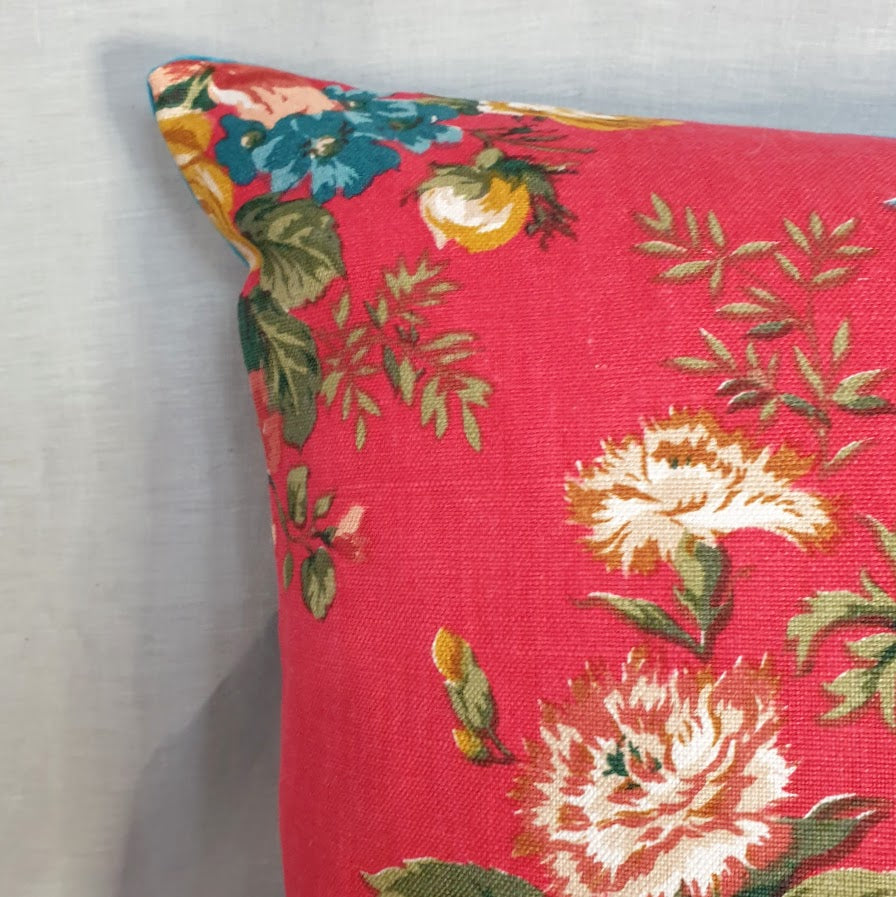 Vintage Floral Fabric Cushion In Red Linen Flower Design