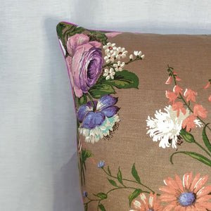 Vintage Floral Cushion In Floral Spray Sateen