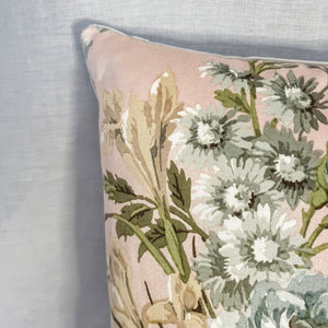 Vintage Floral Fabric Cushion In Shell Pink 'Knowle' Floral Sanderson - 16 inch
