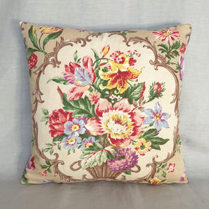 Vintage Fabric Cushion In Floral Basket Design - 16 inch