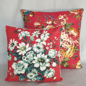 vintage floral fabric cushions