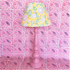 Indian Block Print Lampshade - Yellow