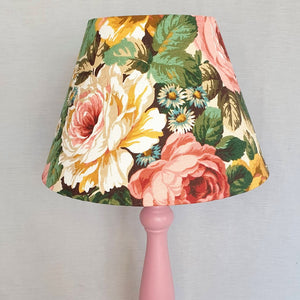 Vintage Floral Lampshade In Pink And Yellow Rose Design