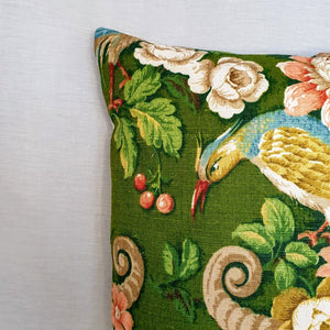 Vintage Sanderson Green Exotic Bird Design - 16 inch