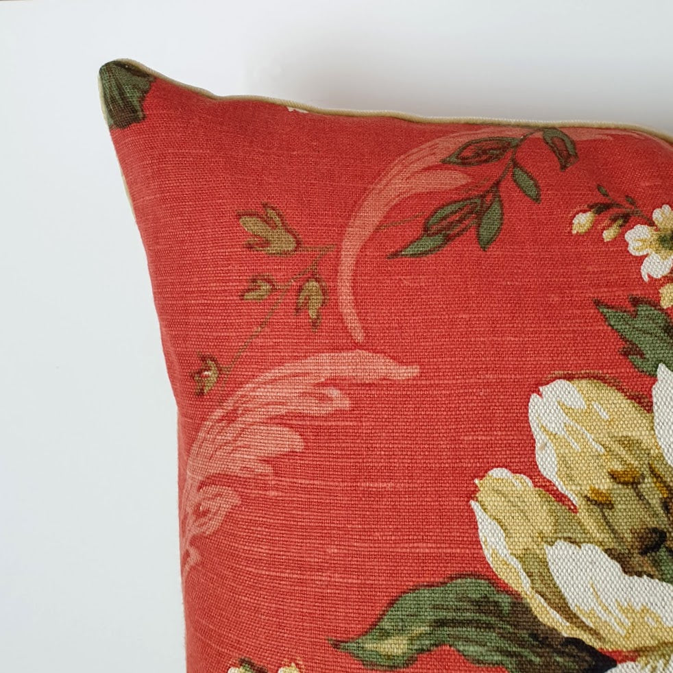 Vintage Floral Cushion In Sanderson Burnt Orange Florals