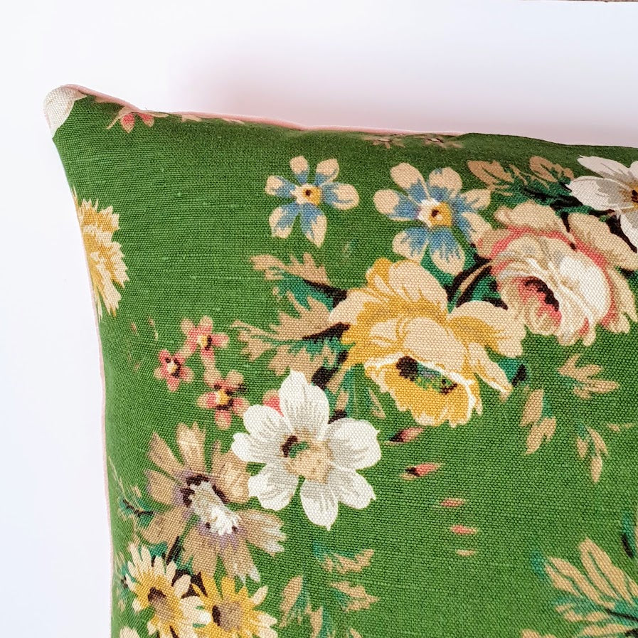 Vintage Floral Cushion In Green Floral Wreath Design