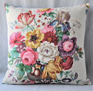 Vintage Floral Cushion In Off White Floral Sanderson Fabric