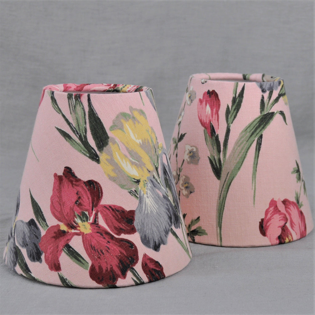 Candle Shade In Vintage Sanderson Pink Iris design