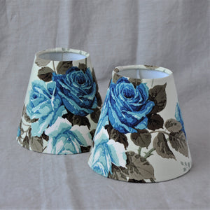 Candle Shade In Blue Rose Design