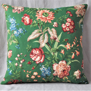 Vintage Green Painterly Floral Linen Cushion