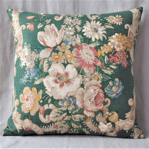 Green Floral Cushion / Vintage Floral Cushion In Beautiful Green Sanderson Design