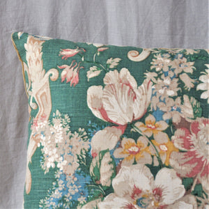 Vintage Fabric Cushion In Beautiful Green Sanderson Florals