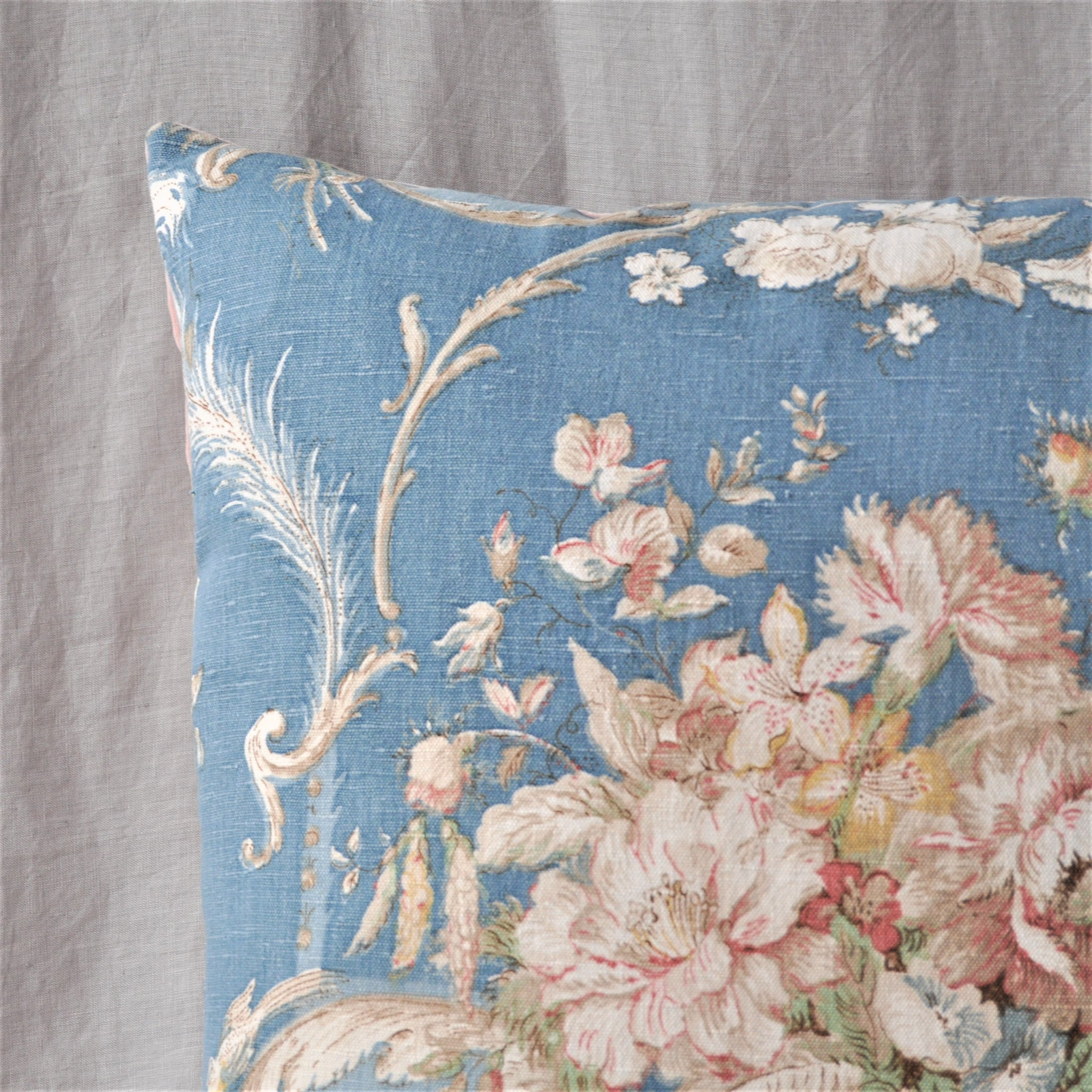 Vintage Fabric Cushion In Beautiful Blue Sanderson Chintz