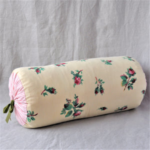 Bolster Cushion In Pale Yellow With Pink Rosebuds
