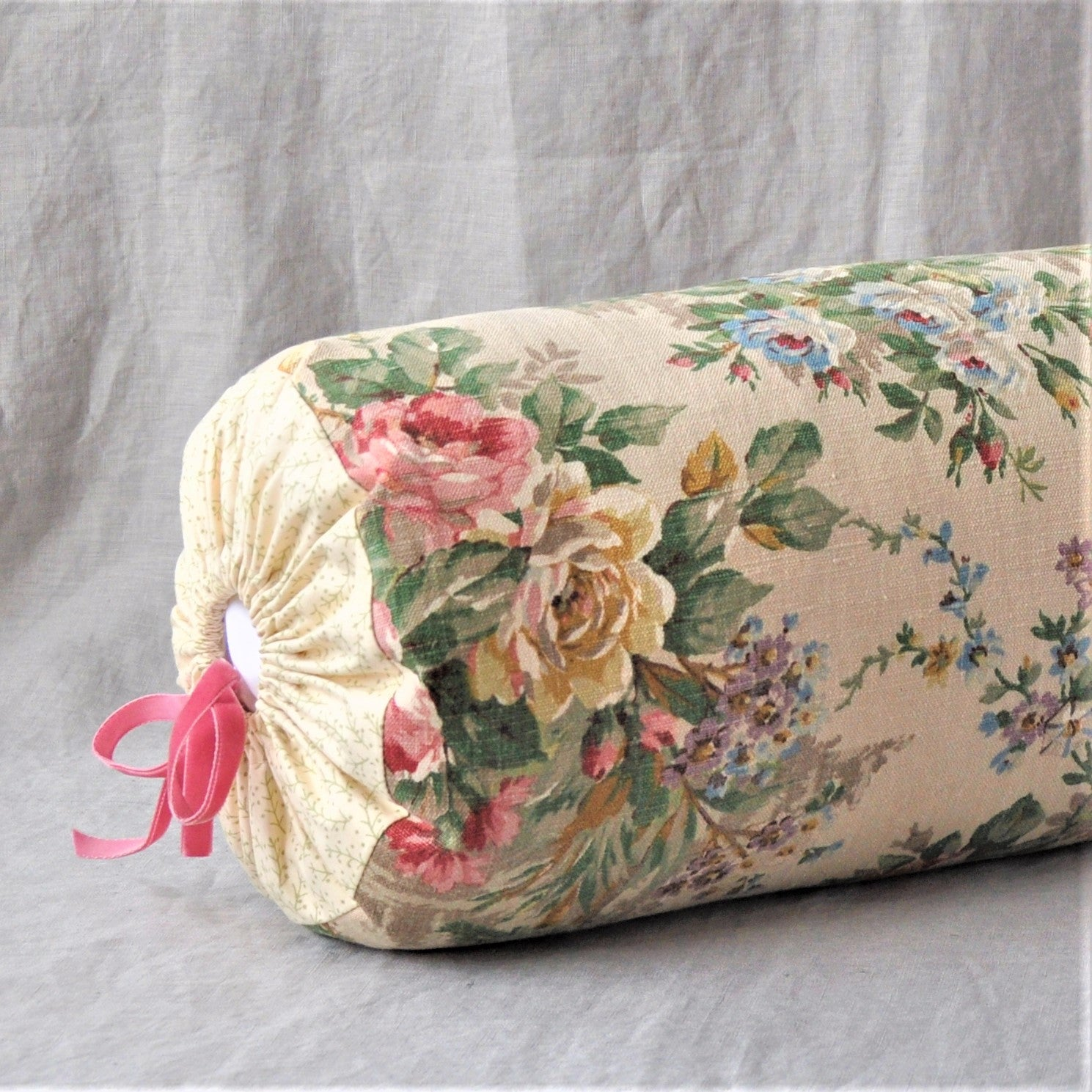 Bolster Cushion In Pink Rose Coutryside  Fabric