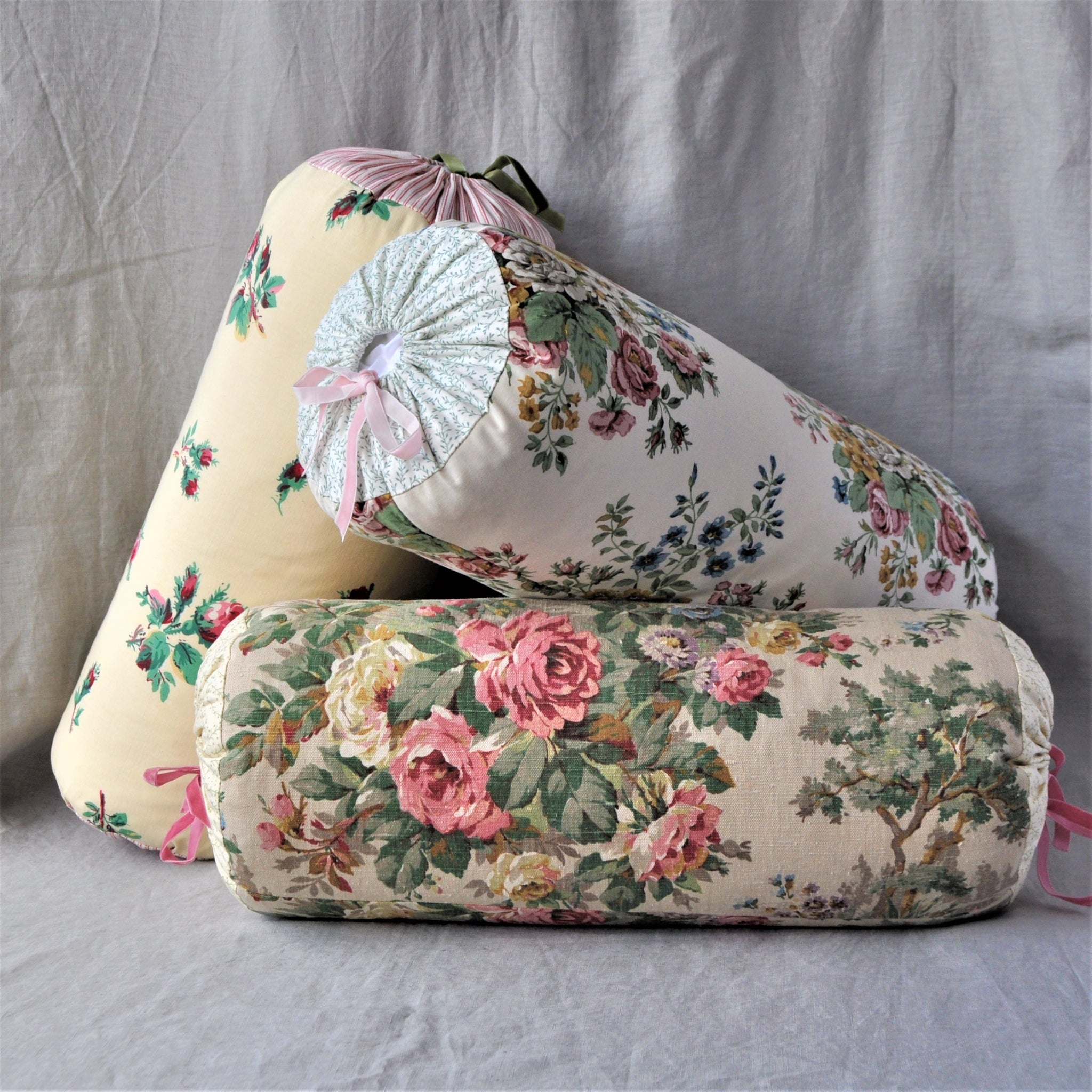 Bolster Cushion In Off White Vintage Floral 'Dallant' Fabric