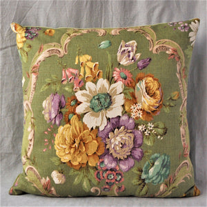 Vintage Floral Cushion In Sanderson Green 'Boveney' Floral Fabric