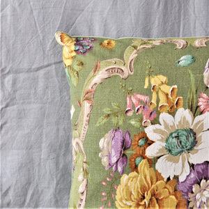 Vintage Sanderson Green 'Boveney' Floral Cushion