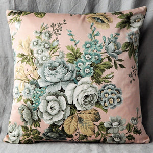 Vintage Floral Cushion In Shell Pink And Grey Sateen