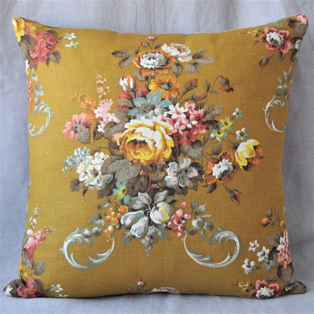 Vintage Floral Cushion In Chartreuse Floral Bouquet Fabric