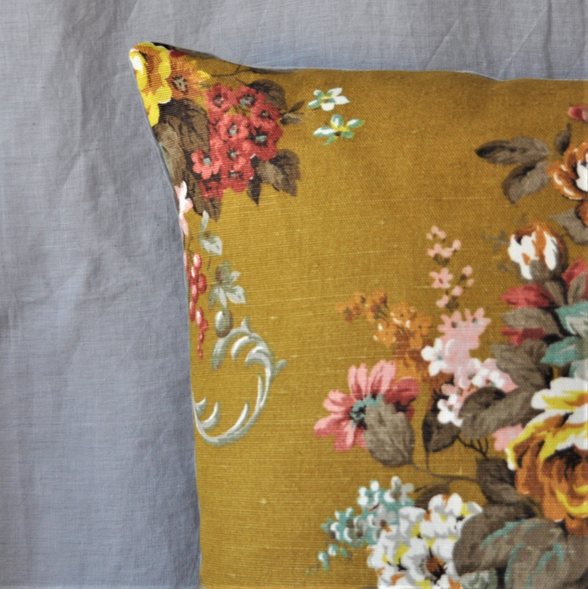 Vintage Chartreuse Floral Bouquet Cushion