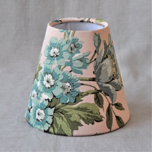 Candle Shade In Shell Pink And Grey Floral Sateen