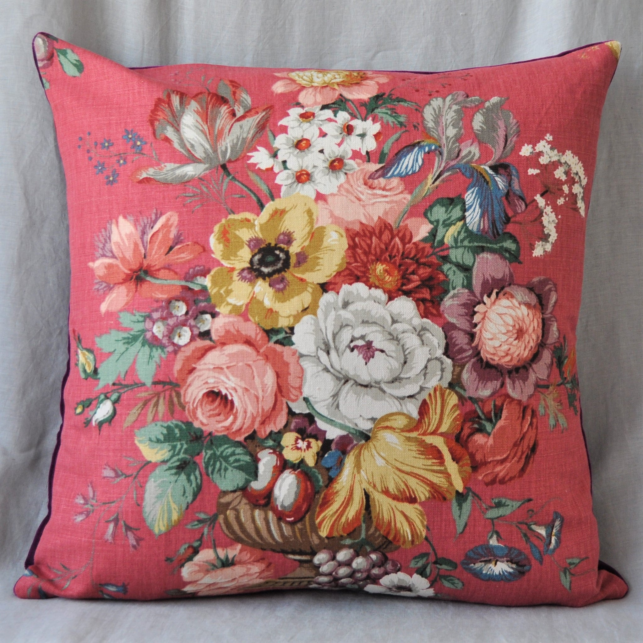 Vintage Floral Cushion In Red Vintage Sanderson Fabric