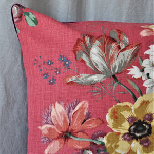 Cushion In Red Floral Vintage Sanderson Fabric