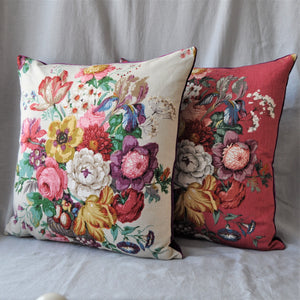 Cushion In Off White Floral Vintage Sanderson Fabric