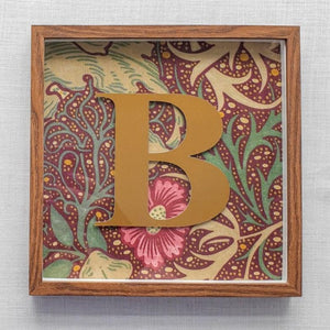 Morris & Co Personalised Initial Framed Picture  - Seaweed In Aubergine