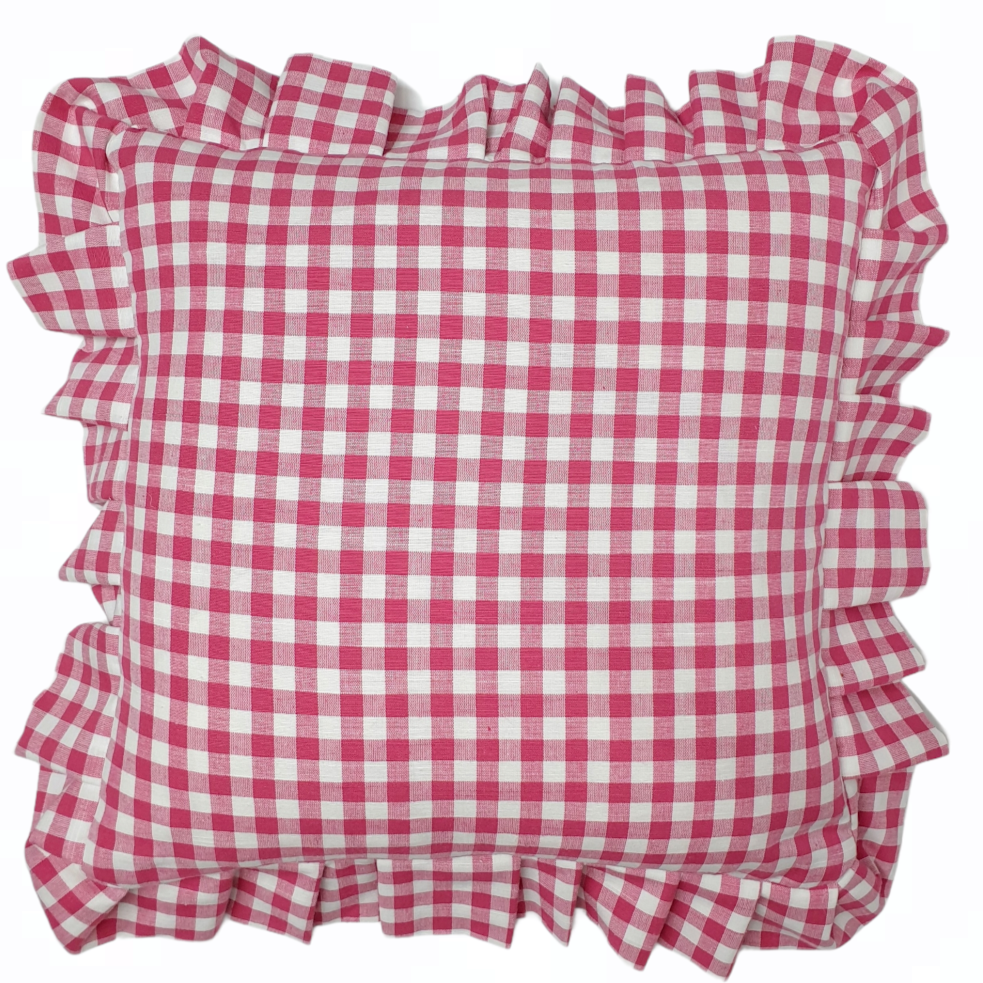 Cherry Pink/Red Gingham Ruffle Frill Edge Cushion