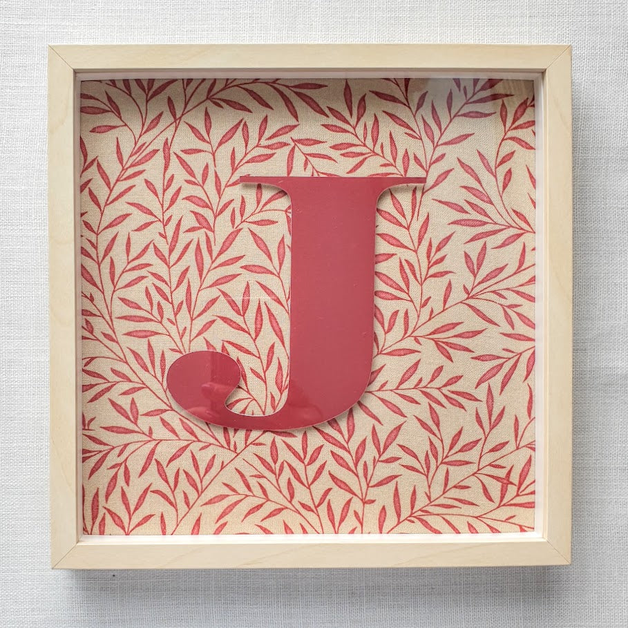 Morris & Co Personalised Initial Framed Picture  - Lily Leaf Minor Red