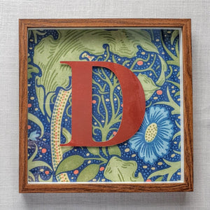 Morris & Co Personalised Initial Framed Picture  - Seaweed In Cobalt