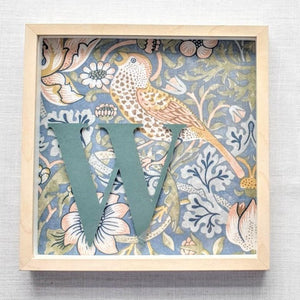 Morris & Co Personalised Initial Framed Picture  - Strawberry Thief Duck Egg