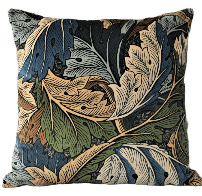 Morris & Co Acanthus Velvet Cushion In Slate Blue/Thyme