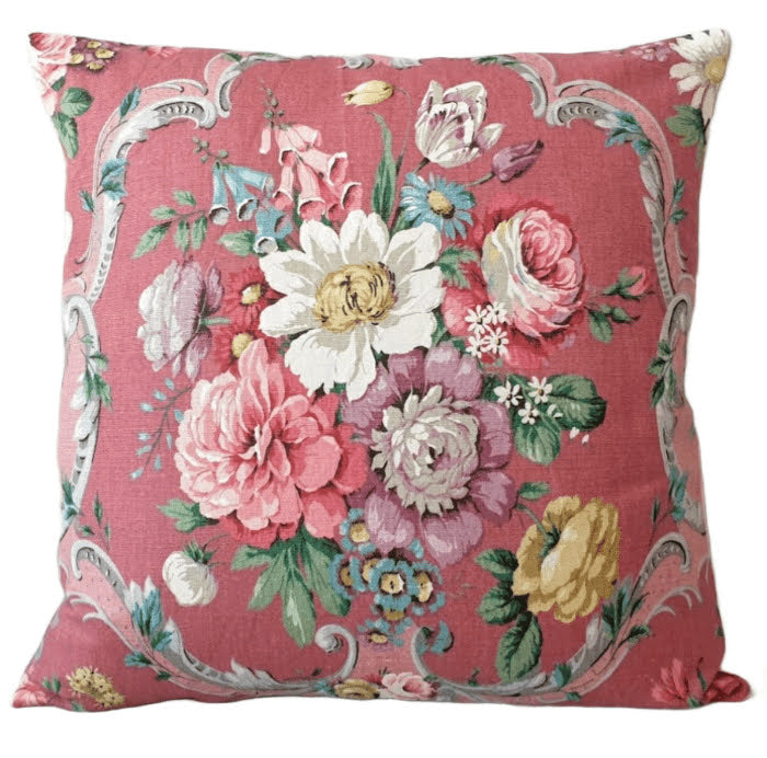 Vintage Floral Cushion In Sanderson Raspberry 'Boveney' Floral Fabric
