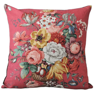 Vintage Floral Cushion In Red Vintage Sanderson