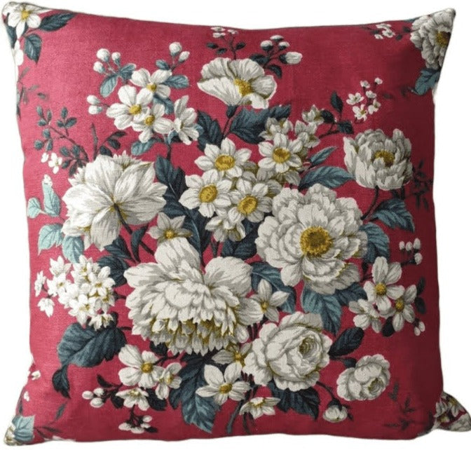 Cushion In Deep Red Vintage Floral Fothergay Fabric