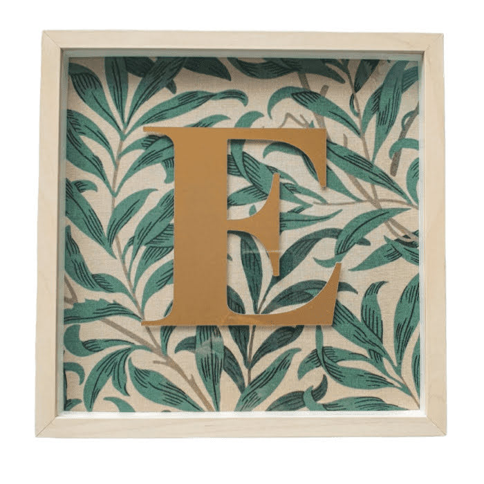 Morris & Co Personalised Initial Framed Picture  - Willow Bough Sage