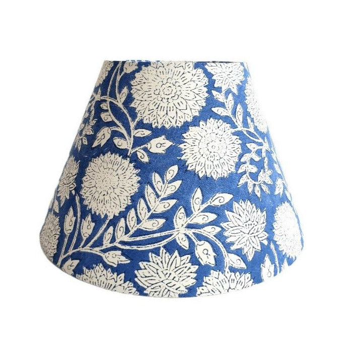 Indian Block Print Lampshade - Blue